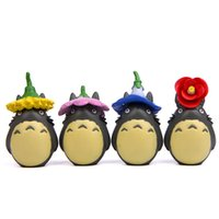 Wholesale toy chinchilla for sale - 4Pcs Set Cute Microscopic Garden Spirited Away Detachable Flower Chinchilla Headdress Doll Home Collection Action Figure Model Kids Present