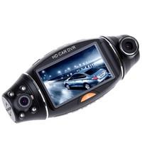 Wholesale 2 inch R310 HD P Dual Lens Dual Camera Car DVR IR Night Vision Rear View Camera Recorder GPS IR pc