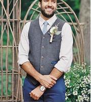 erkek takım elbise yelek gri toptan satış-2019 Damat Yelekler Gri Tweed Yün Balıksırtı Damat Yelekler İngiliz Tarzı Erkek Suit Yelekler Mens Elbise Yelek Özel Düğün Yelek