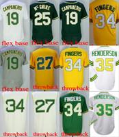 Wholesale Hunter Mens - Mens Oakland 35 Rickey Henderson 27 Catfish Hunter 34 Rollie Fingers 19 Bert Campaneris 25 Mark McGwire Throwback Baseball Jerseys