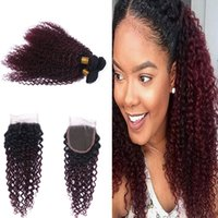 Wholesale Dark Wine Color Hair - Dark Roots 1B 99J Kinky Curly Hair Weaves With Lace Closure Ombre Color Red Wine 99j Curly Hair 3bundles With 4x4 Closure
