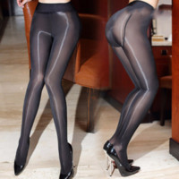 Wholesale See Through Nylon - 2017 New 8D Sexy Oil Shiny Pantyhose for Women Closed Crotch Sheer Stockings Smoothly Fabric See Through Gloss Detail