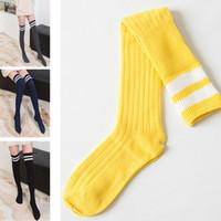 vestido de alto nivel al por mayor-Calcetines altos hasta la rodilla con rayas blancas Niñas grandes y mujeres hasta calcetines largos HH7-448 amarillos y negros