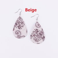 Wholesale Unique Earrings For Women - Fashion New Print Paisley Floral Patterns Teardrop Pu Leather Earrings for Women 2018 Summer Jewelry New Unique Drop Leather Earrings
