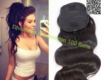 Wholesale drawstring ponytails resale online - Malaysian virgin hair body wave drawstring ponytail hair extension clip in wet wavy ponytail hairpiece natural color dyeable