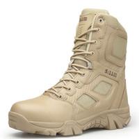 botas de cordones casuales para hombre al por mayor-Mens Army Boots Wear resistir antideslizante Hombres Escalada Senderismo Snow Boots Hombres Tamaño grande 39-47 Moda Casual Lace Up Zipper Shoes