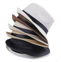 Wholesale Wide Brim Summer Hats - Vogue Men Women Straw Hats Soft Fedora Panama Hats Outdoor Stingy Brim Caps 7 Colors Choose
