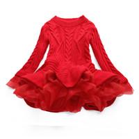 europäische chiffonfarben großhandel-Strick-Langarm-Pullover-Kleid Europäische und amerikanische Herbst-Mädchen-Prinzessin-Kleider für 7 verschiedene Farben