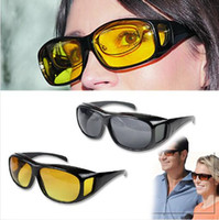 Wholesale Visions Drive - HD Night Vision Driving Sunglasses Men Yellow Lens Over Wrap Around Glasses Dark Driving UV400 Protective Goggles Anti Glare CCA9268 60pcs