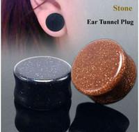 orelhas imagens venda por atacado-C: \ Users \ Administrator \ Desktop \ Picture \ 2018-07-30 12_53_00-2 Pcs GoldStone Ear Túnel Plugs Black Organic pedra calibres carne Body Piercing.