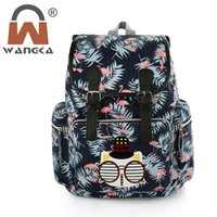 Wholesale cat canvas backpack korean for sale - Group buy 2018 New Canvas Drawstring BackPack Women Lovely Cat Printing School Bags Korean Style