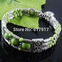 antikes tibetisches türkis großhandel-Freies verschiffen Tibetischen Antiken Metall Grün Howlith Türkis Edelstein Runde Perlen Charme Armband Armband 6,5