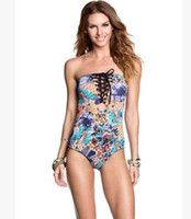 Wholesale America Swimsuit - 2018 Printed Swimsuit New Two-sided Printed Tube Top Bikini Europe and America Sexy Swimsuit