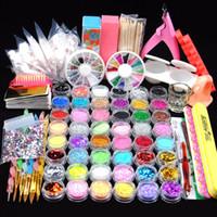 herramientas de uñas rhinestones al por mayor-48 Glitter Powder Manicure Nail Kit Rhinestones Diseño 3d Acrylic Powder Gel Polish Nail Tips Gemas Decoración Diy Nail Kit de herramientas