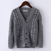 8eee8aa5daba07 4T to 10T kids boys cable knit V neck knitted casual cardigan sweater  children boy fall winter solid gray blue sweater clothes