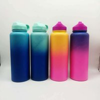 Wholesale Wide Mouth Sports Water Bottle oz oz Gradient Color Vacuum Insulated Stainless Steel Water Flask OOA5835