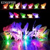 ingrosso farfalle da giardino-12 LED farfalla stringa solare luci multi colori energia solare ha condotto la lampada illuminazione decorativa esterna per Garden Party Natale