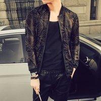 ropa de talla más al por mayor-Summer Men Jacket Fashion 2018 Slim Fit Bomber Chaquetas Casual Plus Size Thin Protección Solar Ropa Night Club Stage Coats 5XL