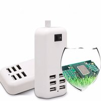 Wholesale Usb 5v 4a - Portable 6 Port USB Wall Charger US EU Plug Adapter 5V 4A 20W with Switch 1.5M Cable for iPhone Android Tablet PC