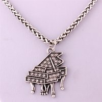 Wholesale piano pendant resale online - Hot Sell Pendant Necklace For Women Men High Taste Piano Design Charm With Crystals Wheat Link Chain Zinc Alloy Dropshipping