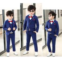 jaqueta de mandarim de meninos venda por atacado-Um Botão de Alta qualidade Kid Designer Completo Bonito Menino Terno de Casamento Dos Meninos Do Traje Feito Sob Medida (Jaqueta + Calça + Gravata + Colete) m790