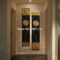 ingrosso immagine di arte nera per salotto-Dipinto a mano Moderna astratta Oro nero Pittura a olio Grande parete verticale strutturata Arte decorativa su tela per soggiorno