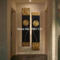 art de l'art de l'or achat en gros de-Peint à la main Moderne Abstraite Or Noir Peinture À L'huile Grand Vertical Texturé Mur Décoratif Toile Art Image pour salon