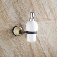 Wholesale Shower Soap Shampoo Dispensers - Free shipment JI-254 Liquid Soap Dispenser Wall Mounted Brass Detergent Shampoo Shower Hand Wash Ceramic Bottle Pump Holder Chrome Bathroom