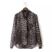 блуза длинный рукав корея оптовых-2018 Hot Korea New Women Blouse Ladies Sexy Long Sleeve Leopard Print Chiffon Blouses Blusas Tops Shirt Lady Sexy  Top
