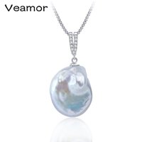 Wholesale natural baroque pendant - 2017 New White color large size tissue nucleated flame ball shape baroque pearl necklace pendant freshwater 100% natural pearls