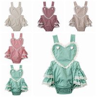 babies tutu rompers Canada - 2018 summer toddler girl lace rompers polka dot onesies baby boutique clothing infant clothes heart halter top backless ruffle tutu jumpsuit