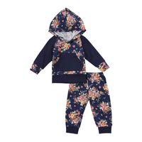 цветочные зимние брюки оптовых-2Pcs Autumn Winter Newborn Baby Girl Clother Long Sleeve Floral Hoodie Tops Pants Outfits Set Clothes