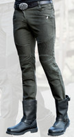 dunkelgrüne jeansmänner großhandel-Groß- und Kleinhandel geben Sie Lieferung hässliche bros MOTORPOOL dunkelgrüne Jeans beiläufige im Freienmotorrad keucht die Männer, die Jeans reiten