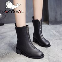 66b901a5 LazySeal Negro Lujo Cremallera frontal Diseño Mujer Botas de cuero genuino  Botas Martins Botas de tacón cuadrado de madera Zapatos casuales Zapatos de  mujer