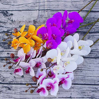 Wholesale blue white vases wholesale - 7 Heads Silk Orchid Simulation Phalaenopsis Christmas Decor Birthday Party Supplies Wedding Artificial Flowers without Vase 10pcs