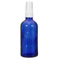 yeni parfümlü atomizer şişeleri toptan satış-Yeni 1 ADET 100 ML Mavi Cam Atomizer Şişeleri Uçucu Yağ Parfüm Mist Sprey Kafası Ile Su Sprey Şişe Kozmetik Konteynerler