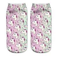 ingrosso calzini in cotone alla caviglia per i bambini-Calzini 3D bambini Calzini corti in cotone Multi adorabili capi di unicorno Immagine Primavera Estate Lunghezza caviglia bassa 19cm