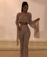 Wholesale beautiful art deco for sale - 2019 Arabic Champagne Evening Dress Jumpsuit Long Sleeve Crystal Bateau Tulle Two Pieces Modern Classic Suitable for all sizes Beautiful