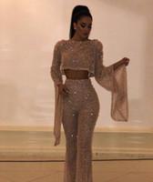 güzel uzun kollu gece elbiseleri toptan satış-2019 Arapça Şampanya Abiye Tulum Uzun Kollu Kristal Bateau Tül İki Adet Modern Klasik tüm boyutları için Uygundur Güzel