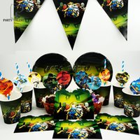 Wholesale Party supplies for kids Ninjago theme birthday party decoration tableware set plate cup straw banner invitations topper