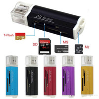 Wholesale ms pro card reader resale online - Multi All in Micro USB Memory Card Reader Adapter for Micro SD SDHC TF M2 MMC MS PRO Card Reader KKA1393