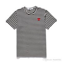 Wholesale off panel - CDG PLAY commes mens designer t shirts OFF With Heart sport tee Shirts des garcons White Pablo stripe Shirts For Summer vetements