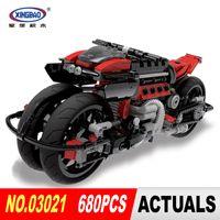 Wholesale motorcycle boys - Xingbao 03021 680Pcs Technic Series Off-road Motorcycles Building Blocks Bricks Educational Toys Boy Gifts Model