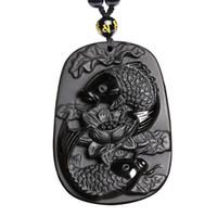 pendentif lotus sculpté achat en gros de-Bijoux en pendentif Obsidian avec deux poissons et lotus Obsusian noir