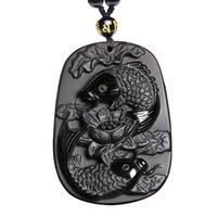 geschnitzter lotusanhänger großhandel-Feine Carving Obsidian zwei Fische und Lotus schwarz Obsidian Anhänger Männer Schmuck