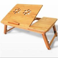 bambú portátil al por mayor-Disipar el calor del ordenador portátil de mesa de bambú minimalista ajustable Ordenador moderno de la cama plegable de escritorio Tablas de moda creativas exquisito flexible 44js2 j