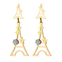 eiffel schmuck großhandel-Eiffelturm Ohrringe für Frauen Mädchen Schmuck Glänzende Zirkonia Femme Lange Ohrringe Gold Farbe Boucles D'oreilles Femmes
