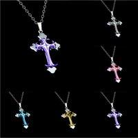 Wholesale Christian Gold Pendants - Single ornament wholesale Christian electroplating dripping oil cross pendant necklace short.