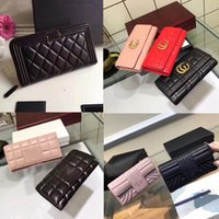 Wholesale Large Vintage Clutch - Famous Brands Women Lambskin Quilted Long Clutch And Purse Classic Gold-toe Flap Bags Large Leather Wallet Evening Money Bag