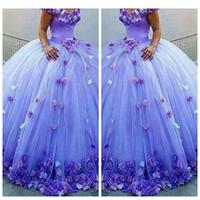 ingrosso grandi fiori fatti a mano-Ball Gown Puffy Tulle Quinceanera Abiti 3D fiori fatti a mano ornato Lace Up Back Vestidos De Quinceanera Party Gowns 16 Sweet Big
